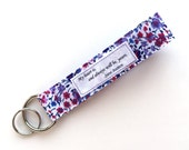 Fabric Keychain Wristlet w/ Words- Jane Austen Quote- My Heart Is Yours- Key Fob - Upcycled Fabric Key Wrist Strap - Key Lanyard- Womens