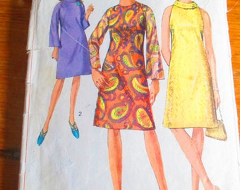 Simplicity 6783 Sewing Pattern - 1960s misses one-piece A-line dress.  Size 16, Bust 36 - Cut, Complete