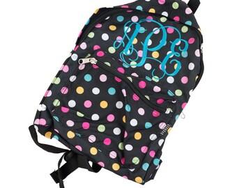 Multi polka dot Personalized Monogram Glitter Backpack