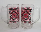 Vintage Stitched Pattern Glass Mugs  - set of two