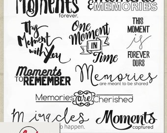 Digital and Printable Overlay Word Set Art - Instant Download - Simply Stated - Memories Art