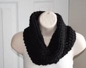 basic black crochet chunky infinity cowl 100% wool