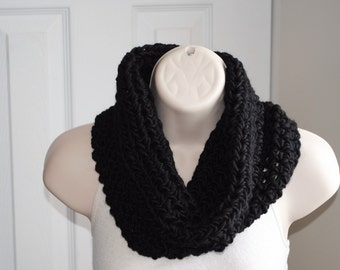 basic black crochet chunky infinity cowl 100% wool