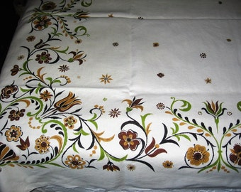Vintage Fall Tablecloth Ecru Linen Brown Gold & Green Stylized Autumn Floral Border 50 X 68 in. Hand Laundered Pressed Dining Table Cover