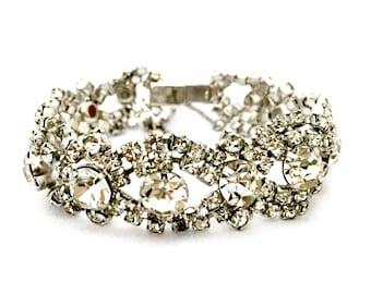 Vintage Weiss Silver Statement Link Bracelet Clear Rhinestones