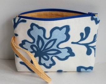 Zippered Wristlet, Floral Clutch Purse, Cosmetic Pouch, Sister Parish Blue Palmetto