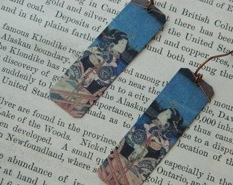Art earrings Utagawa Hiroshige Japanese art  mixed media jewelry Art jewelry