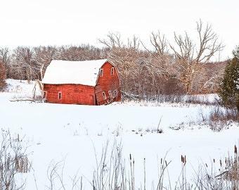 Sinking Barn Winter Landscape Photograph, Minnesota Landscape, Peaceful Red Barn White Snow