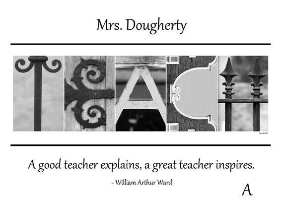 5x7 Personalized gift for TEACHER - Unframed