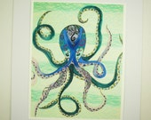 """Octopus art print, 8x10"""" ink jet print, Octopus in the sea, great for kids room"""