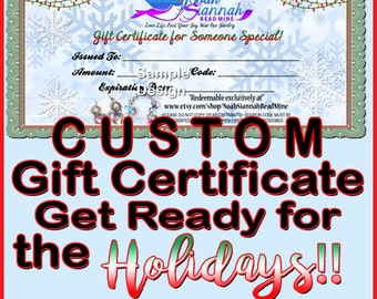 CUSTOM GIFT CERTIFICATE-Etsy Shop Gift Certificate-Gift Voucher-Custom Gift Coupon-Custom Gift Card-Holiday Discount-Christmas