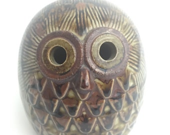 Vintage MID CENTURY Ceramic Pottery Owl BANK