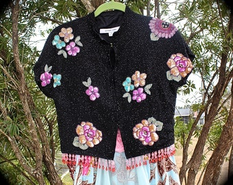 Izzy Roo and Betsey Johnson Style Jacket Lovely Unique Altered Couture OOAK Shabby Chic Beauty Size Small