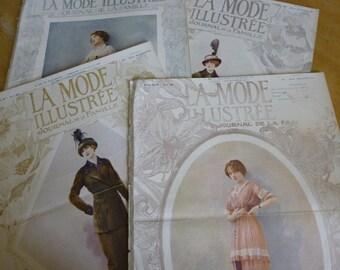 4 Antique Fashion Magazines, Edwardian, Art Nouveau,  Fashion,  French La Mode Illustree  Dated 1913