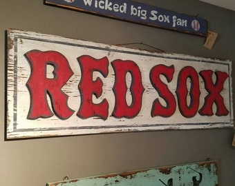 "Vintage-syle ""Redsox"" Sign - weathered Boston sports decor"