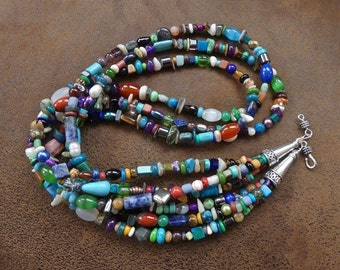 27 Inch Southwestern Triple Strand Multi-Gemstone Necklace