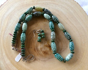 23 Inch Hand-Carved Green Sinkiang Chinese Jade Necklace with Earrings
