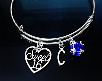 Sweet 16  Expandable wire bangle charms bracelet with your  INITIAL LETTER and Swaroviski birthstone /MG4