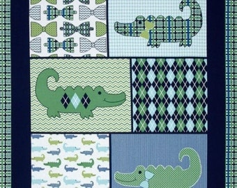 Gentleman Alligator Baby Blanket