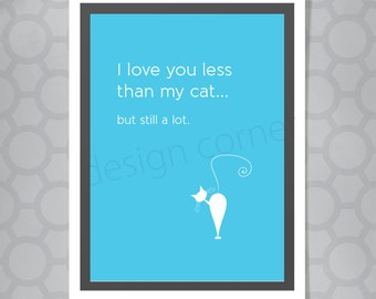 Funny Illustrated I love my Cat Valentine's Day Card