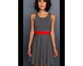 Navy with White Stripe Fit and Flare Dress Skater Dress