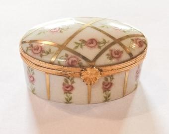 Limoges Pink Rose Trinket Box, Hand Painted, French Vintage, WINTER SALE