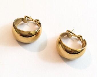 Large Gold Tone Hoop Earrings, for Pierced Ears, 1960s Vintage Jewelry, SALE