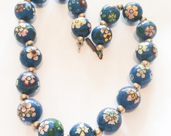 Blue Bead Necklace, Pink, Yellow, Green, Flowers, Made in Germany, Vintage Jewelry, SUMMER SALE