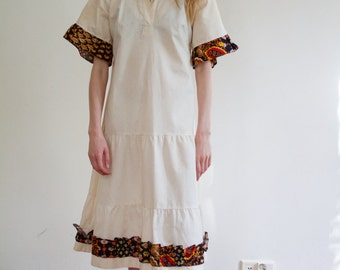 Off white raw cotton dress with paisley collar