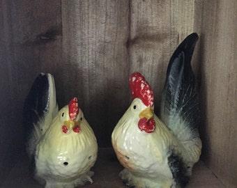 Vintage Rooster & Hen Salt and Pepper Shakers