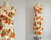 Vintage 1950s Silk Dress / 50s Silk Wiggle Dress / Floral Print Silk with Cut Away Back