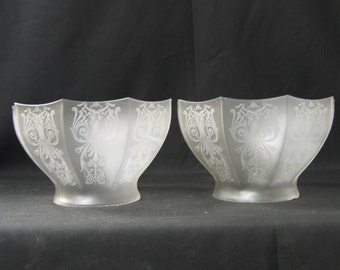 "7584 Pair Etched Glass Lamp Shades Gasolier Victorian  4"" holder c1890"