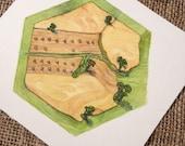 Catan board game art Grain Hex concept artwork - unique gift for Catan fan