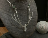 Diana Antler Necklace with Quartz Crystal and Emerald