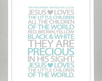 Baptism gift - Jesus loves the children  - Print