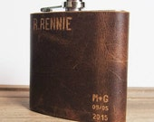 Oak Wedding Hip Flask || Leather Flask - Full piece, genuine leather,  personalized leather flask