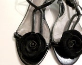 Shoe clips - Leather rose shoe clips, black suede shoe clips-  leather rose -baby, girl,woman shoe clips ,flip flop   shoes accessories