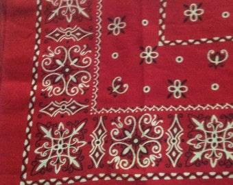 Vintage Elephant Brand red bandana fast color 100% cotton larger size trunk up