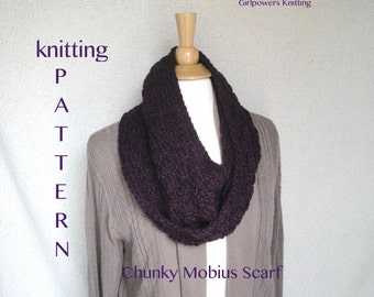Knitting Pattern Chunky Mobius Scarf Cowl, Quick Easy Fast, Thick Bulky Yarn, DIY Knit, Circle Scarf Pattern, Womens Cowl Pattern