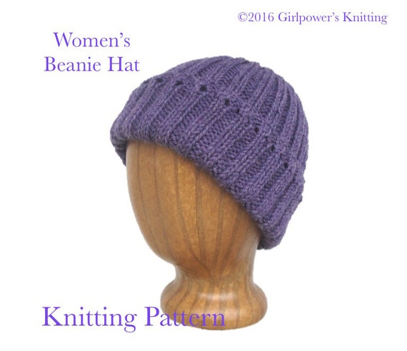 Items similar to Womens Beanie Hat Easy Knit Pattern, Easy Hat Pattern, ...