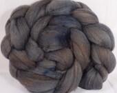 Hand dyed merino/ silk top for spinning  -Soot-  (4.1 oz.) merino / tussah silk ( 50/ 50)
