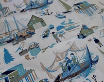 Vintage Fabric Nautical New England Maritime Panel Curtain Draperies Yardage Blue Green