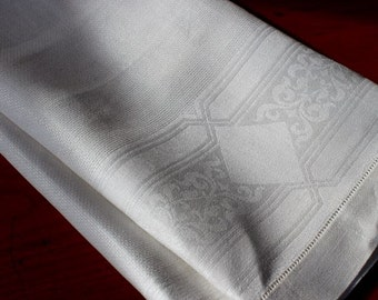 Vintage Damask Linen Towel Bath White Art Deco Unused White Geometric
