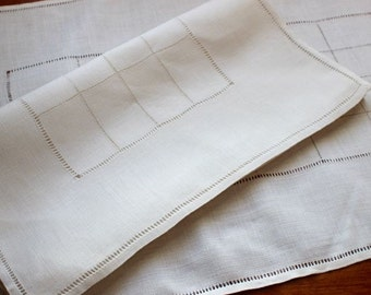 Vintage Linen Runners Pair 2 Handmade Linen Dresser Scarf Drawnwork Simple Elegant