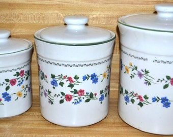 Vintage Excel canisters, ceramic canister set,English garden , stoneware,  225, 3 piece set