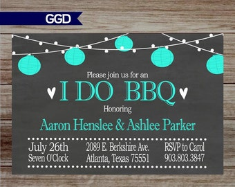 Chalkboard I Do BBQ Invitation,  Engagement Party Invitation, lantern invitation, couples shower-Printed or Digital File