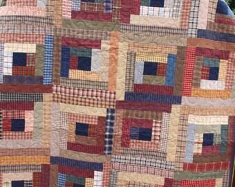 "Twin Quilt ""Plaid Logs"" Brushed Homespun Fabric"