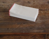 """SECONDS Organic Unbleached Cotton Muslin Handkerchiefs Pocket Eight (14X14"""") with Red Edging"""