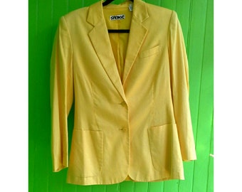 Vintage Stephen Sprouse Bright Yellow Jacket 1980s Rave Wear New Wave New York Fashion