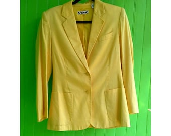 Vintage Stephen Sprouse Bright Yellow Jacket 1980s Rave Wear New Wave New York Fashion SALE